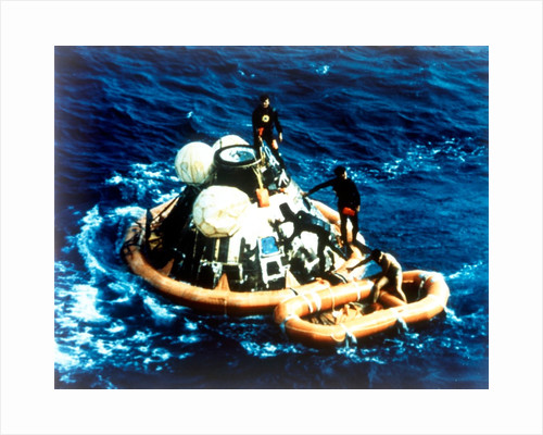 Recovery of command module 'Columbia' in the Pacific Ocean, Apollo II mission, 24 July 1969 by NASA