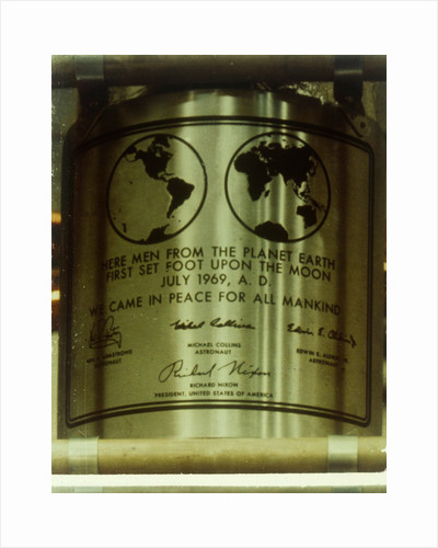 Plaque left on the Moon, Apollo II mission, July 1969 by NASA