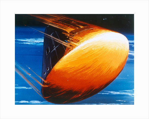Artist's concept of Command Module re-entry in 5000° heat by NASA