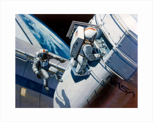 Space Shuttle - artist's concept of spacewalk, 1980s by NASA