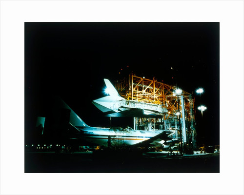 Space Shuttle and 747 carrier plane in Mate-Demate Device by NASA