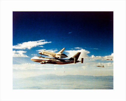 First Space Shuttle flight, 'Columbia' parting from carrier aircraft, April 1981 by NASA