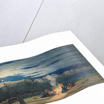 Artist's Halt in the Desert by Moonlight by Thomas Birchall