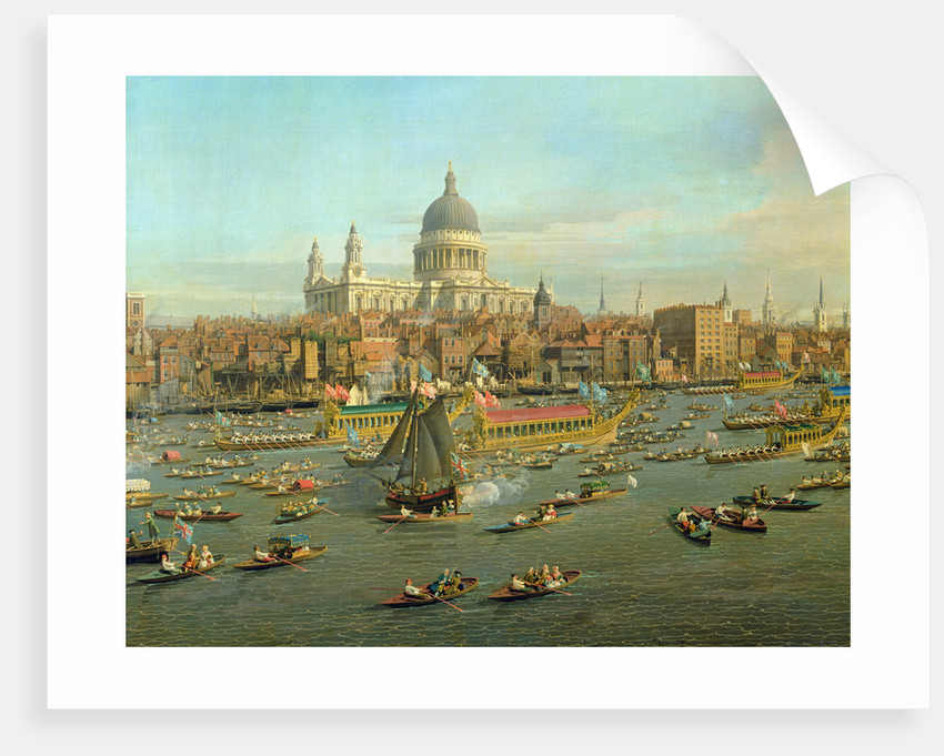 ST PAUL'S CATHEDRAL LONDON ENGLAND /& RIVER THAMES PAINTING ART REAL CANVAS PRINT