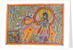 Krishna and Cow by Kamal