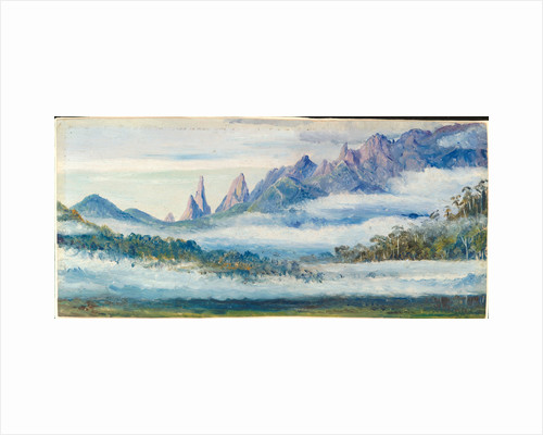 141. Organ Peaks, seen over the morning mists from Theresopolis, Brazil. Original is oil on board, Marianne North, 1873. by Marianne North