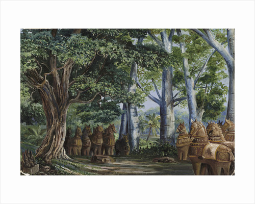 279. African Baobab Trees, a large Tamarind, the God Aiyanar and his two Wives. by Marianne North
