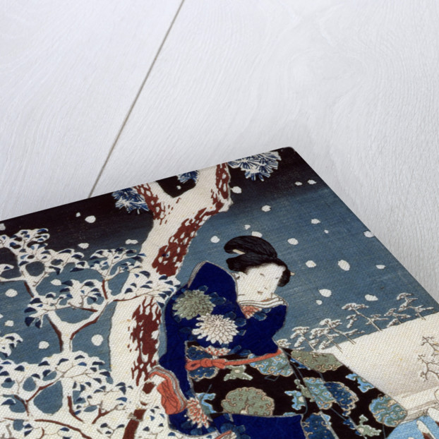 Snow Scene in the Garden of a Daimyo, part of Triptych by Ando or Utagawa Hiroshige