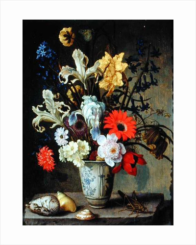 Floral Study with beaker, grasshopper and seashells by Balthasar van der Ast