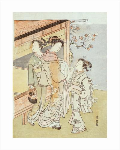A Lady and Her Attendant Meet a Messenger by Suzuki Harunobu