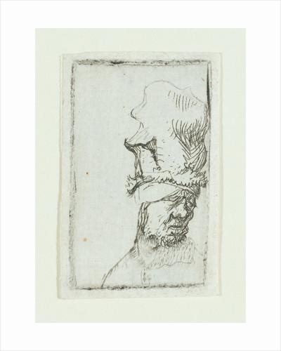 Head of a man in a high cap by Rembrandt Harmensz. van Rijn