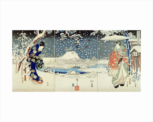 Snow Scene in the Garden of a Daimyo by Hiroshige