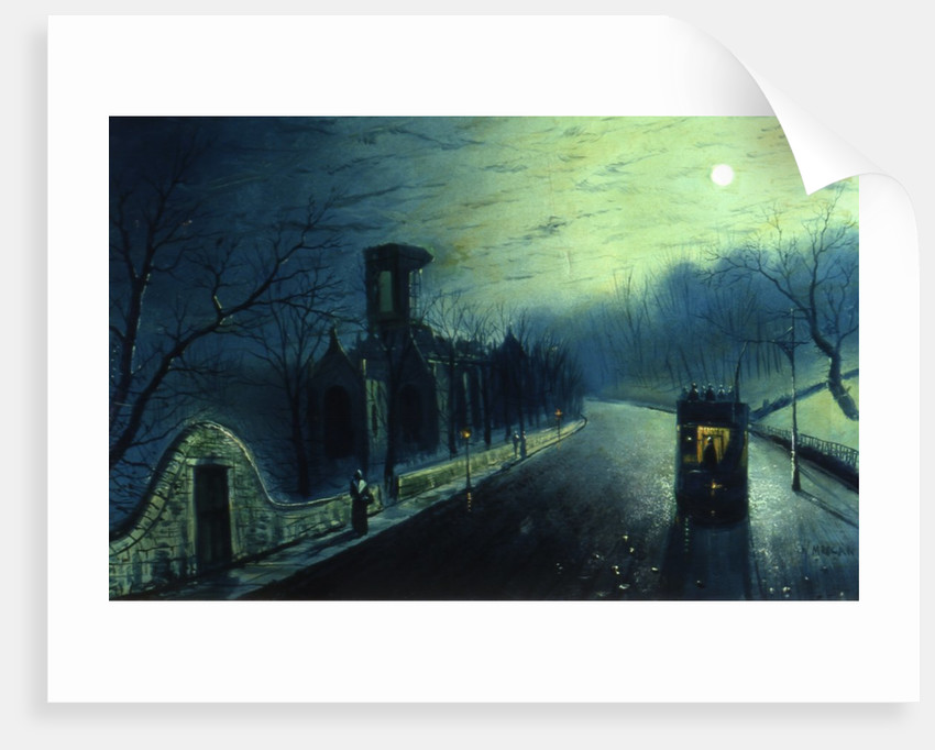Kirkstall Abbey, by moon light (with tram) by W. Meegan