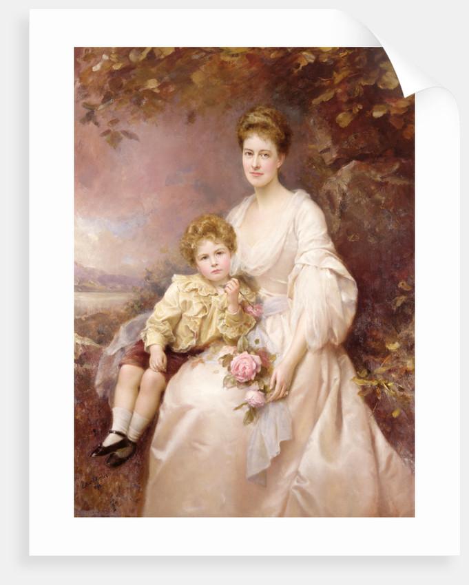 Portrait of Laura Gwendolen Gascoigne and her son Alvary, 1898 by Edward Hughes