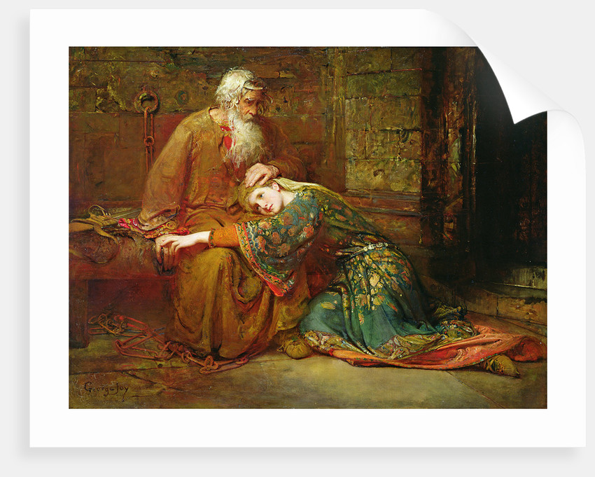 Cordelia comforting her father, King Lear, in prison, 1886 by George William Joy