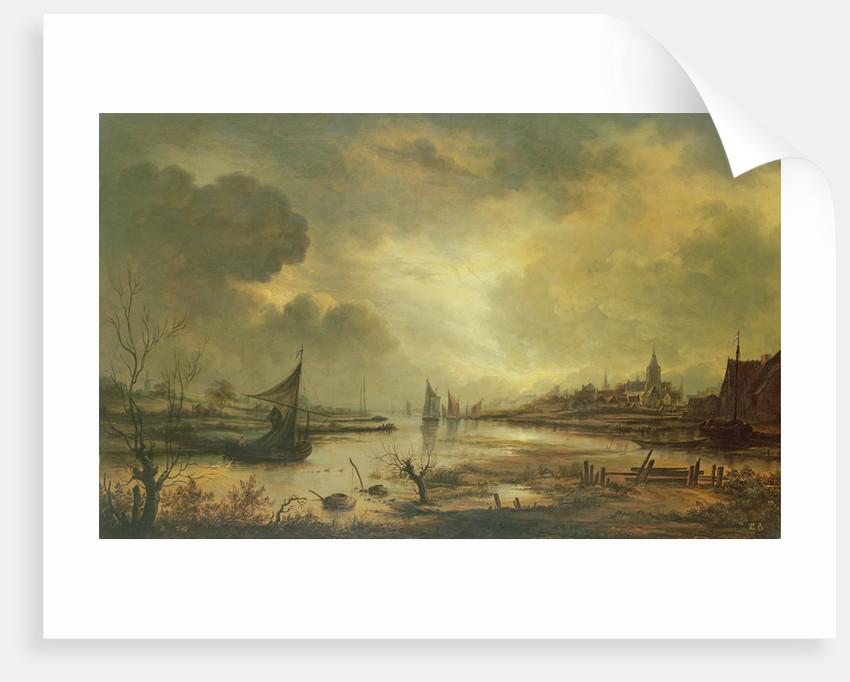 Dutch Town on a River by Moonlight by Aert van der Neer