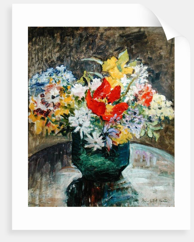Flowers in a Green Vase by Mary Ethel Hunter