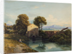 Watermill with Distant Castle and Hills, 1822 by John Varley