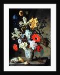 Floral Study with beaker, grasshopper and seashells by Balthasar van der Ast