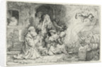 The Angel Departing from the Family of Tobias by Rembrandt Harmensz. van Rijn