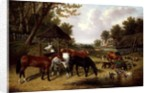 Horses by a Farmyard pond by John Frederick Herring Snr