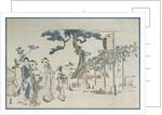 Ladies Visiting the Wisteria Gardens at Kameido by Katsushika Hokusai