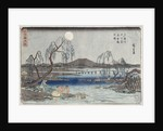 Catching Fish by Moonlight on the Tama River, from a series 'Snow, Moon and Flowers' by Ando or Utagawa Hiroshige