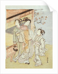 A Lady and Her Attendant Meet a Messenger by Suzuki Harunobu