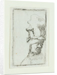 Head of a man in a high cap by Rembrandt Harmensz. van Rijn