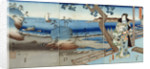 Prince Genji watching at the Suma Beach by Hiroshige