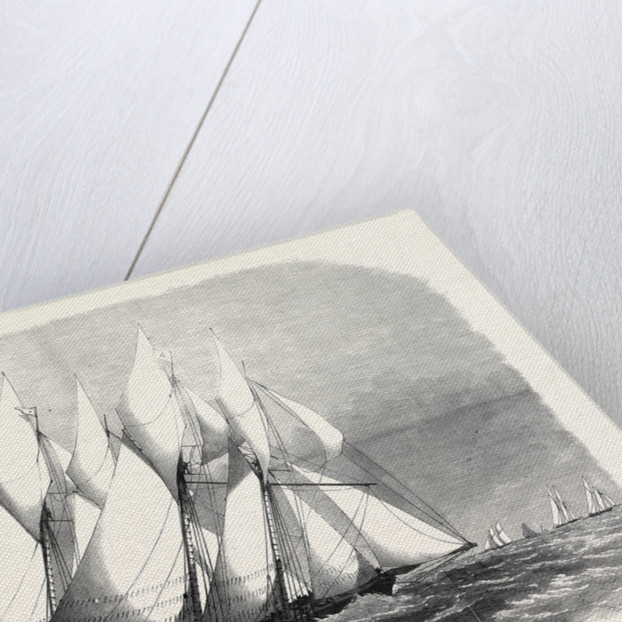 The Royal Thames Yacht Club Schooner Match the Cambria and Witchcraft Rounding the Mouse Light 1869 by Anonymous