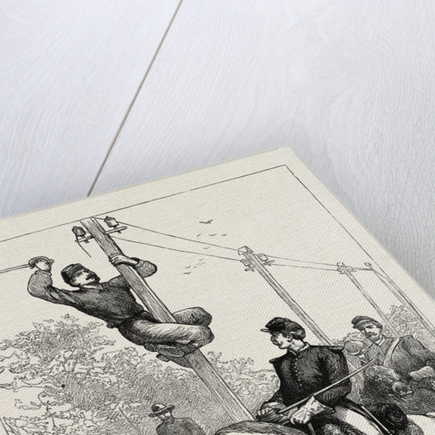 Stuart's Cavalry Cutting Telegraph Wires, American Civil War by Anonymous