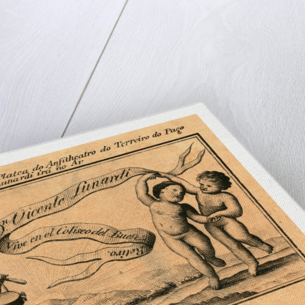 Print Shows Banner with Name of Italian Balloonist Vincent Lunardi; Includes Figure Playing a Drum and Two Others Dancing. by Anonymous
