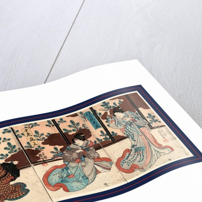 Tsubone iwafuji churo onoe meshitukai hatsu, Three actors in the roles of Tsubo no Iwafuji, Churo Onoe, and Meishitsukai Hatsu by Utagawa Kuniyoshi
