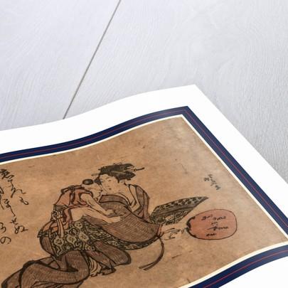 Hahaoya ni umanori suru yoji, A child riding his mother like a horse by Katsushika Hokusai