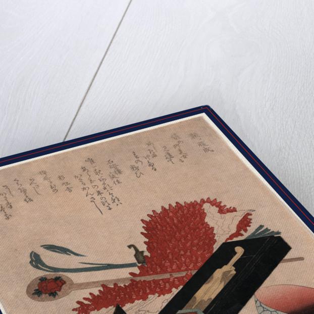 Shibori kanzashi benichoku, Shibori, hairpin, and lip color bowl by Horai Hidenobu
