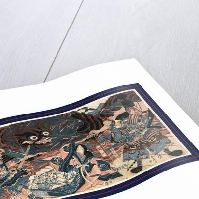 Fujiwara no hidesato no mukade taiji, The warrior Fujiwara Hidesato battling the giant centipede by Katsukawa Shuntei