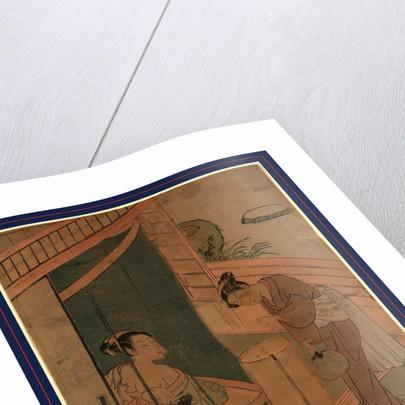 Kaya no hahako, Mother and child behind mosquito netting by Suzuki Harunobu