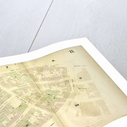 Map bounded by Gold Street, Frankfort Street, Rose Street, Madison Street, Pearl Street, Oak Street, Franklin Square, Ferry Street; Jacob Street, Vandewater Street, Cliff Street, New York by Anonymous