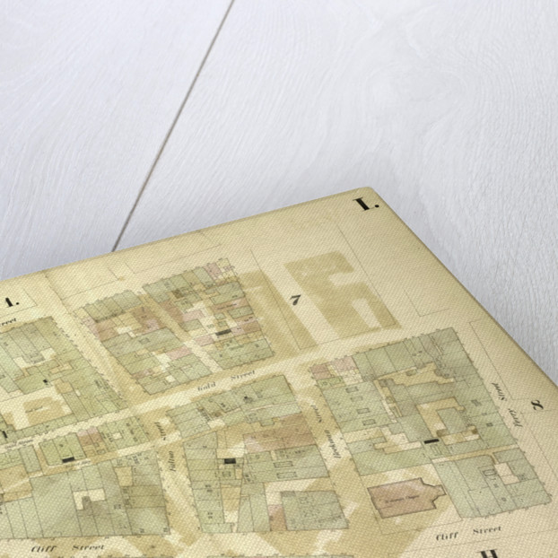 Map bounded by William Street, Beekman Street, Gold Street, Ferry Street, Cliff Street, Pearl Street, Platt Street; Including Riders Alley, Cliff Street, John Street, Fulton Street, New York by Anonymous