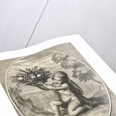 Element earth as a child with bowl of fruit and vegetables for cornfield in oval by Frederik de Wit