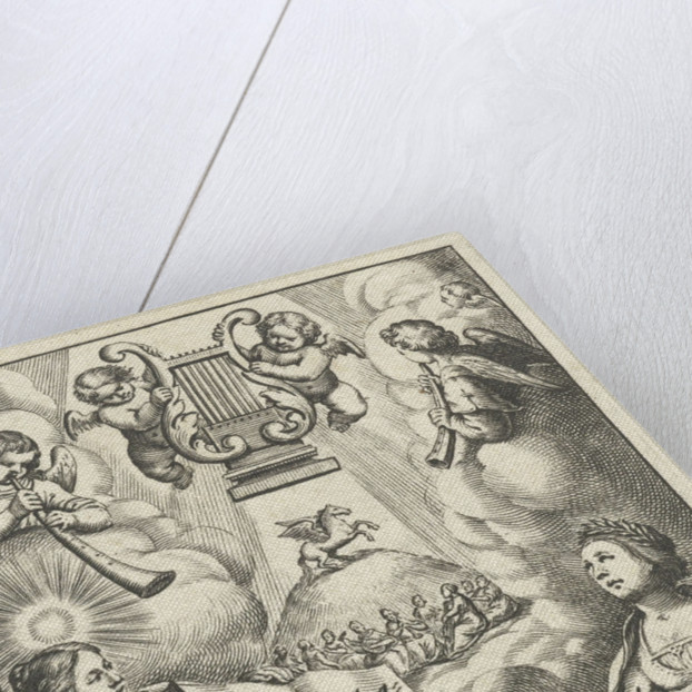 Female writes and draws inspiration from muses while angels playing musical instruments by Keizer