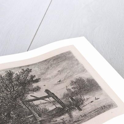 fish trap in a wooded waterfront by Johannes Pieter van Wisselingh