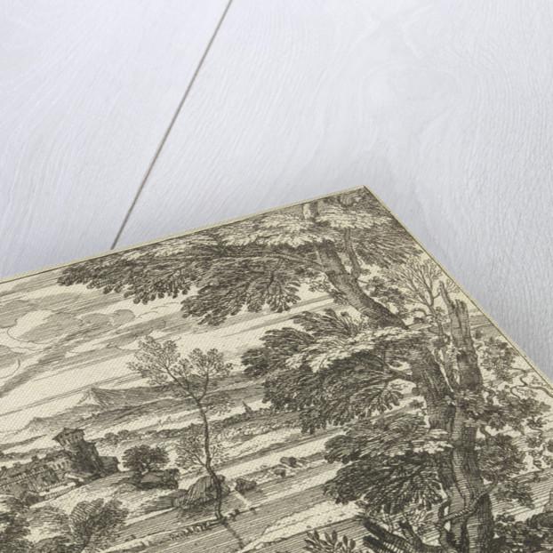 Landscape with man waving mantle by Adriaen van der Kabel