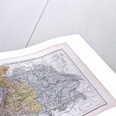 South West Germany, Sudwestliches Deutschland, antique map 1869 by Th. von Liechtenstern and Henry Lange