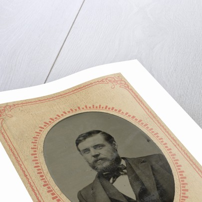 Portrait of a Man, United States, in a paper mat with an advertisement for clothing (Jackson's Home-Made Suits, Pittsburgh, PA) by Anonymous