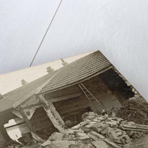 Destroyed building in a flooded suburb of Paris by France