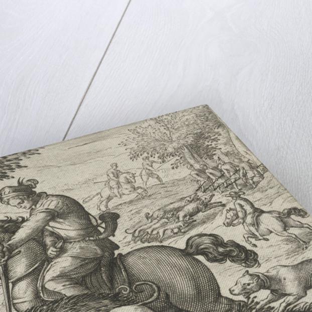 Hilly landscape with hunting wild boar, Egbert Jansz., Antonio Tempesta by Johann Theodor and Johann Israel de Bry