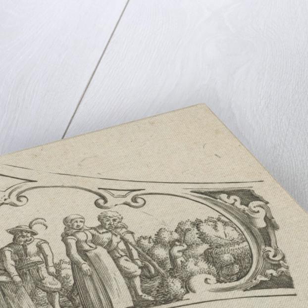 Women accompany drunken men by Claes Jansz. Visscher II