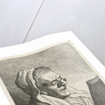 Old Woman Reading with eyeglasses by Theodorus de Roode